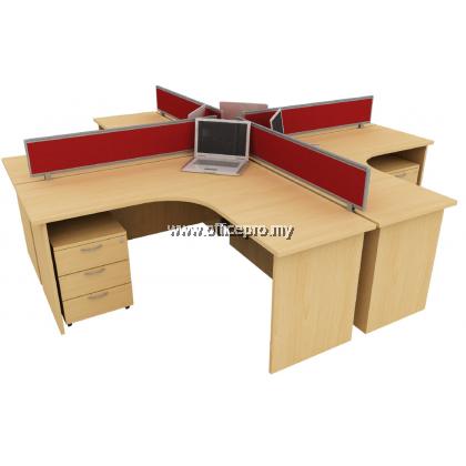 WORKSTATION CLUSTER OF 4 I OFFICE PANEL I OFFICE DIVIDER I EX SERIES SET (+ DESIGN)